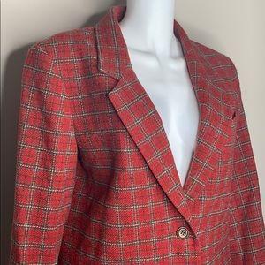 Red Plaid EDDIE BAUER Wool Blazer - Tall Medium